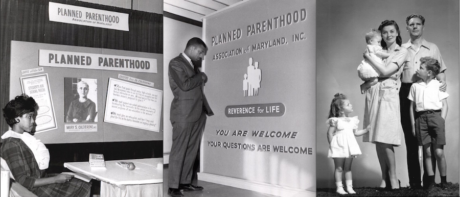 black and white photograph of Planned Parenthood Association of Maryland display